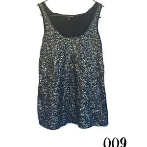 #009- Express black and gold sequin tank top Xs
